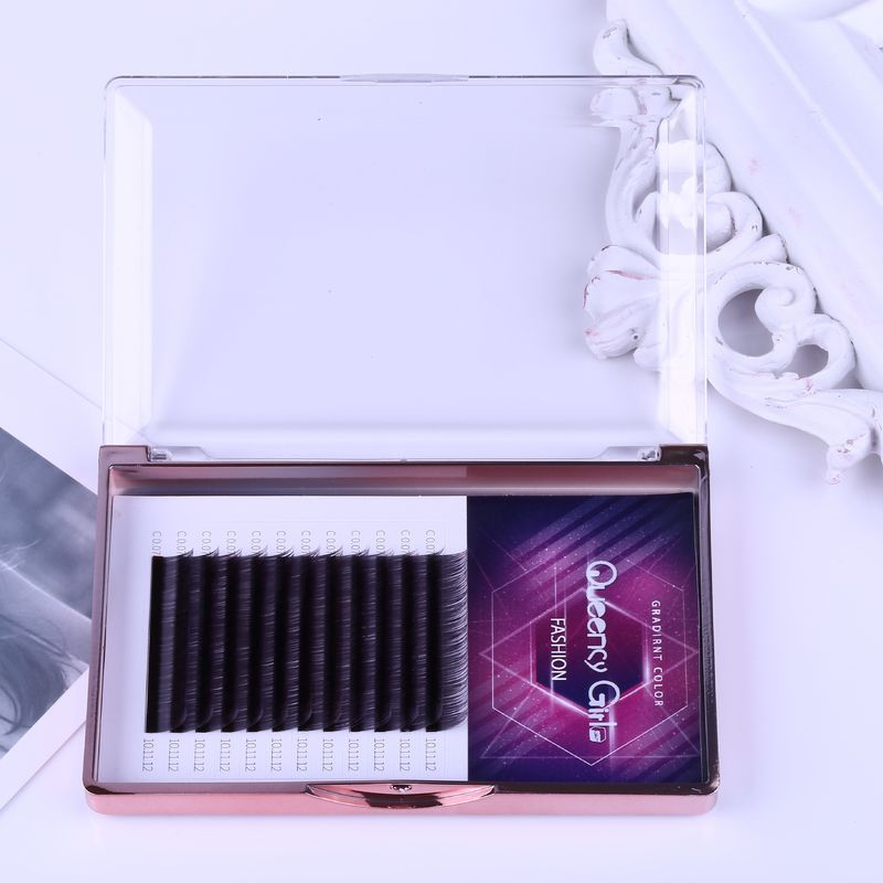 Gradual Purple Blooming Eyelash Individual Extensions 0.07mm Thickness Hand Made
